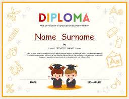 Plantilla De Diseño De Certificado De Diploma De Preescolar Niños