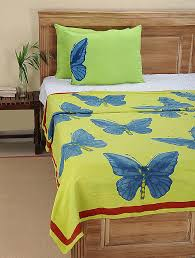 green blue block printed cotton single duvet cover throws quilts and dohars