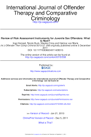 Juvenile sex offender risk assessment