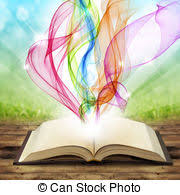 magic book open book with colored smoke swirls and twirls