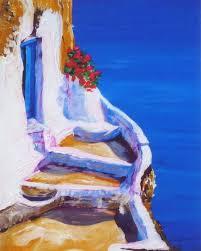 blue ocean blue door summer painting greece santorini print of original oil painting by
