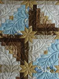 743 best images about Quilts that I like! on Pinterest | Quilting ... & Log cabin stars, feather wreath quilting by Quilt Vine ('circle' quilting  used with log cabin, idea and placement) Adamdwight.com