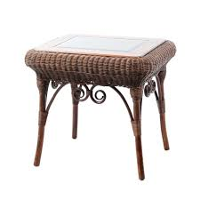 white wicker dining table with glass top wood and outdoor wicker side table