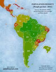 Population density map of latin america