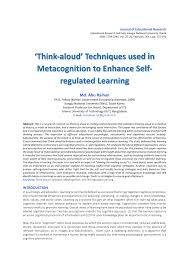 think aloud techniques used in metacognition to enhance self   think aloud techniques used in metacognition to enhance self regulated learning pdf available