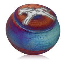 Dream Catcher Jar Raku Dream Catcher Jar with Spirit Pony Design on Lid Equinox Gifts 66