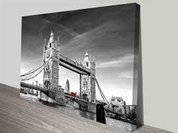 on black and white with a splash of red wall art with tower bridge red bus colour splash ready to hang art print
