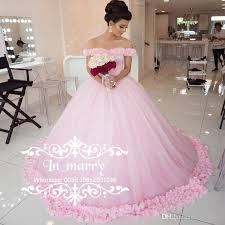 romantic pink 3d floral cinderella wedding dresses 2017 ball gown