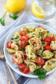 wholesome and delicious easy pesto shrimp tortellini salad made simply with basil pesto tasty tortellini