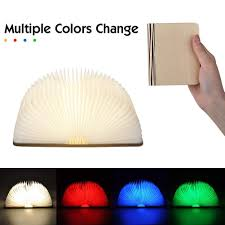 Mood Lamp Book Light Led Book Lamp Wooden Folding Mood Light Usb Rechargeable Lovely Creative Bedside Lamp Night Light Decorative Table Lamp Multiple Colour