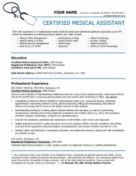 Medical Resume Template Best Of Certified Assistant Samples No