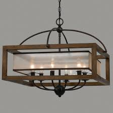 wood and metal chandelier. Square Wood Frame And Sheer Chandelier - 6 Light Metal M