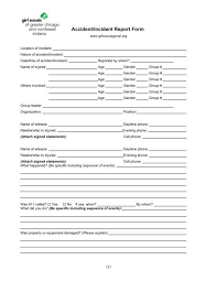 Accident Incident Report Form Girl Scouts