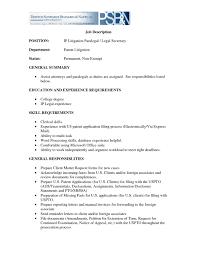 Secretary Job Description For Resume Paralegal Job Description Resume Resume For Study 2