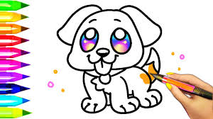 Easy Dog Coloring Pages For Kids Learning Colors With Puppy
