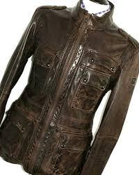 mens hugo boss 100 leather choco brown biker er style jacket coat 38r