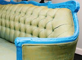 fabric paint for furniturebefore  after painted sofa  DesignSponge