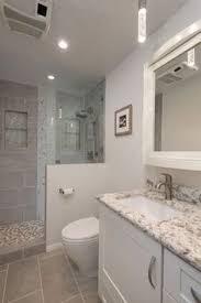 bathroom fans middot rustic pendant. Transitional 3/4 Bathroom With Pental - Eco Stone Porcelain Tile Collection, Glass Panel Fans Middot Rustic Pendant