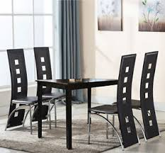 black 5 piece wood dining table set 4 dining chairs kitchen room breakfast