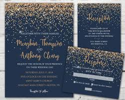 Navy And Copper Wedding Invitation Set With Invitation Rsvp Insert Card And Envelopes Navy Gold Wedding Invitation Navy Wedding Invite