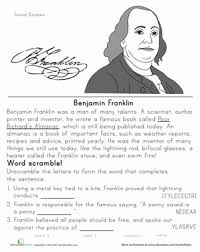 historical heroes benjamin franklin worksheet com second grade social studies worksheets historical heroes benjamin franklin