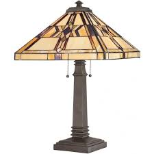 quoizel finton 2 light table lamp in vintage bronze finish and tiffany glass shade