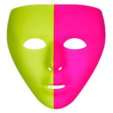 Light Neon Pink Black Light Neon Pink Green Face Mask Image 1 Black