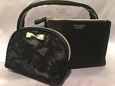 item 5 nwt victoria s secret black lace trio makeup bag golden bow case cosmetic set nwt victoria s secret black lace trio makeup bag golden bow case