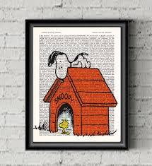 snoopy woodstock wall art charlie brown poster dictionary print kids room