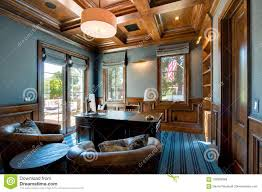 custom home office design stock. Download Spacious Home Office With Wood Ceiling Stock Image - Of  Fancy, Desk: Custom Home Office Design Stock F