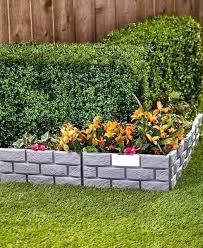 diy flower bed 4 solar garden border light panels gray brick look edging path flower bed