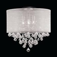 sheer shade crystal ball chandelier drum round shade 4 lamp flush mount crystal ceiling light