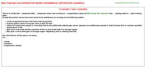Malt House Kiln Operator Job Experience Letters