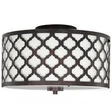 2 light oil rubbed bronze semi flush mount with fabric and laser cut drum shade