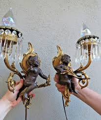 2 cherub vintage shabby spelter crystal prisms brass sconces french lamp antique