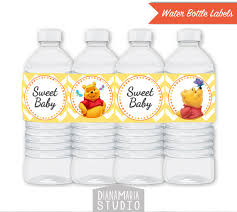 Decorating Water Bottles For Baby Shower Winnie the Pooh Water Bottle Labels Printable Baby Shower 42