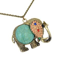 vintage turquoise rhinestone elephant pendant necklace long chain