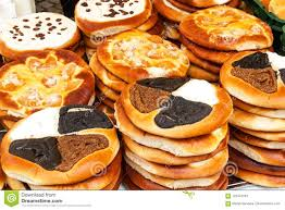 Fresh Pastries For Sale In A Bakery Sales Of Different Types Of