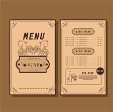 Free Wine List Template Download Wine Template Free List With Different Types Of Wines Free Vector