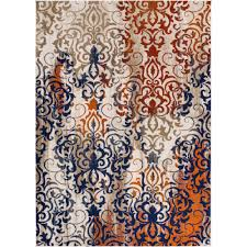 well woven luxbury damask multi 5 ft x 7 ft modern distressed area rug