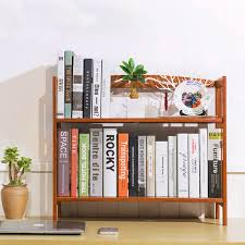 50cm student desk bookcase bookshelf bamboo wood desktop simple multi function wooden self storage holder home office decor in bookcases from furniture on