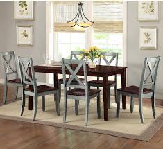 details about farmhouse dining table set rustic country kitchen 7 piece chairs wood blue brown