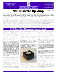 Design Aspects Of Monolithic Op Amps 990 Discrete Op Amp