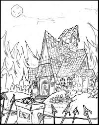 Small Picture Scary Haunted House Coloring Page In Coloring Pages Printables