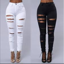 Designer High Waisted Skinny Jeans Us 12 87 15 Off 2018 Fall Skinny Jeans Women Denim Pants Holes Destroyed Knee Pencil Pants Casual Trousers Black White Stretch Ripped Jeans In Jeans