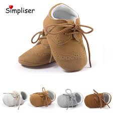 baby leather shoes lace up anti slip newborn baby girls boys moccasins soft soft