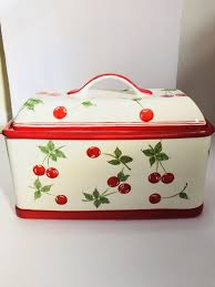Target Bread Box Gorgeous Target HOME Brand Ceramic BREAD BOX Hand Painted CHERRIES Cherry Red
