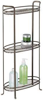 Amazon Com Mdesign 3 Tier Vertical Standing Bathroom Shelving Unit Decorative Metal Storage Organizer Tower Rack With 3 Basket Bins To Hold And Organize Bath Towels Hand Soap Toiletries Bronze Home Kitchen