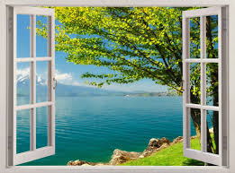 mountain lake window view removable decal home decor mural wall scheme of faux window wall decal