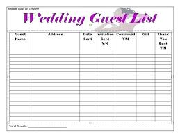 Printable Wedding Guest List Organizer Wedding Guest List Template Excel Experience Photograph